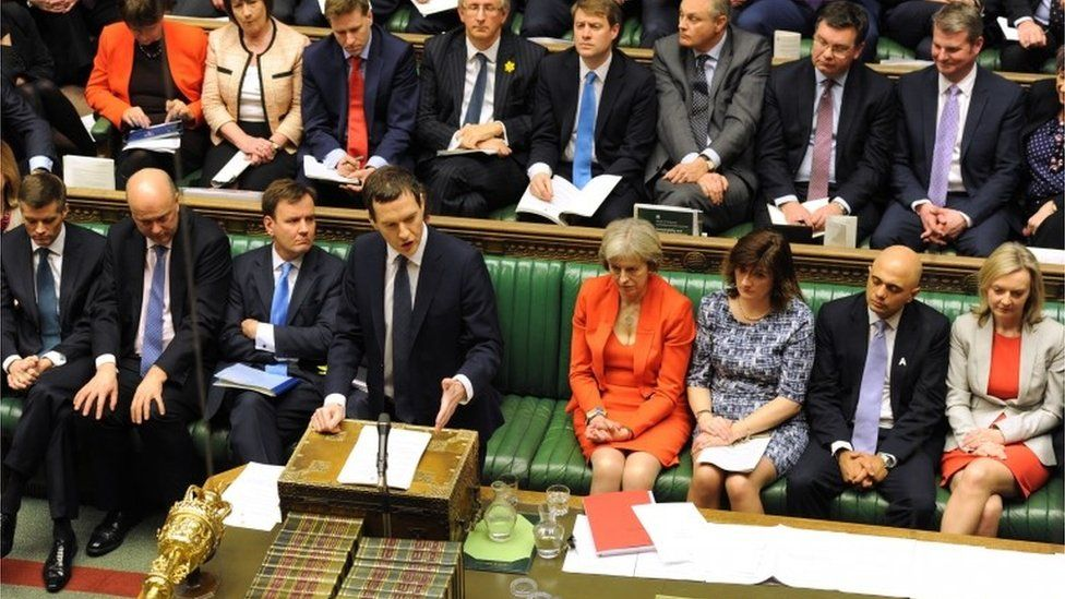 Chancellor George Osborne delivering budget speech March 2016