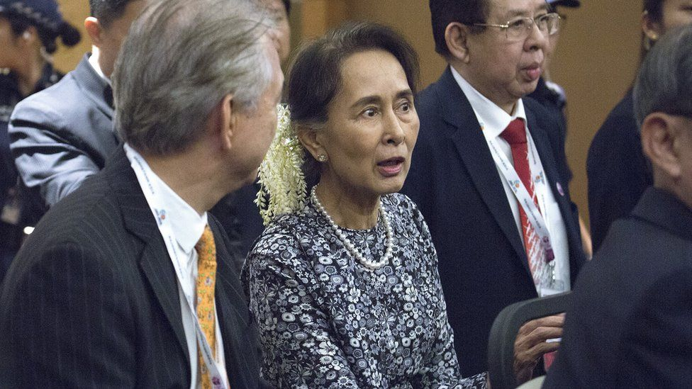 """Myanmar""""s State Counsellor Aung San Suu Kyi departs after her speech at the ASEAN Business and Investment Summit"""