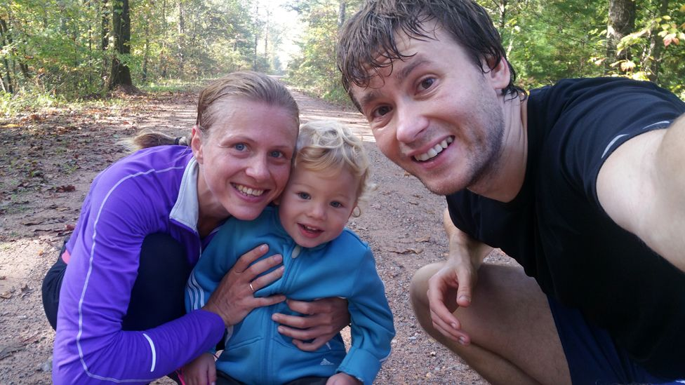 Stepanova with partner Vitaly and their son