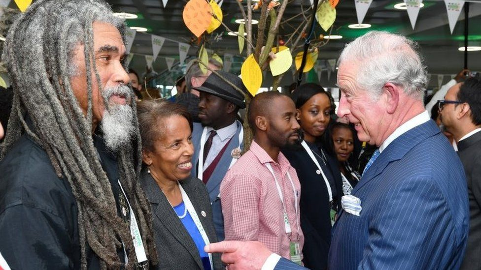 Prince Charles, Prince of Wales talks to guests as he attends the Commonwealth Big Lunch on Wednesday