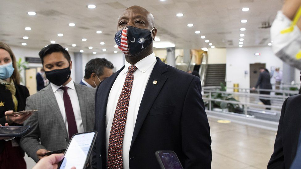 Senator Tim Scott speaks to reporters in Washington DC, 27 April 2021