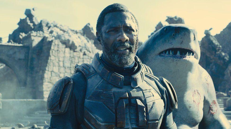 Idris Elba as Bloodsport and Sylvester Stallone as King Shark