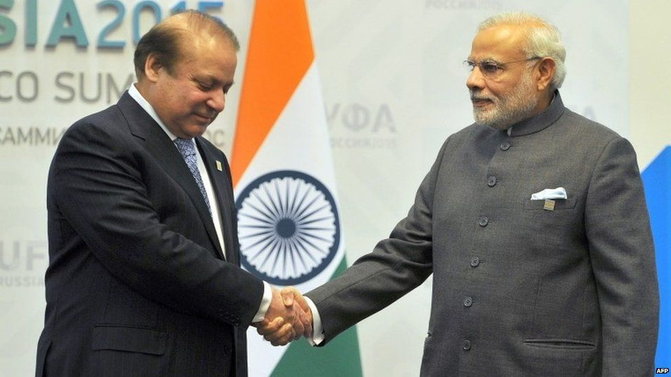 """India""""s Prime Minister Narendra Modi (R) shakes hands with Pakistan Prime Minister Nawaz Sharif ahead of a meeting in Ufa on the sidelines of the BRICS emerging economies summit in Russia"""