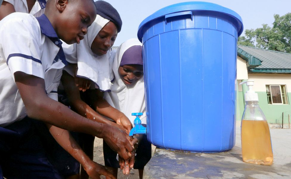 Students at JSS Tudun Wada school wash their hands in Abuja, Nigeria - Thursday 19 March 2020