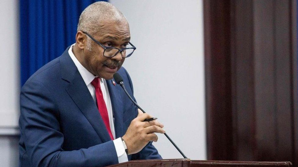 Haitian Prime Minister Jack Guy Lafontant during his speech to the deputies in Port au Prince, Haiti, July 14, 2018.