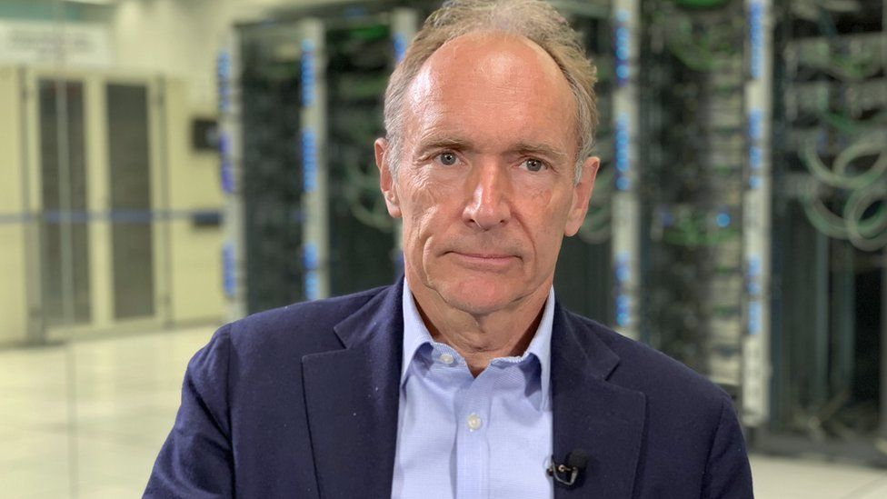 Sir Tim Berners-Lee pictured during an interview with the BBC at Cern's data centre