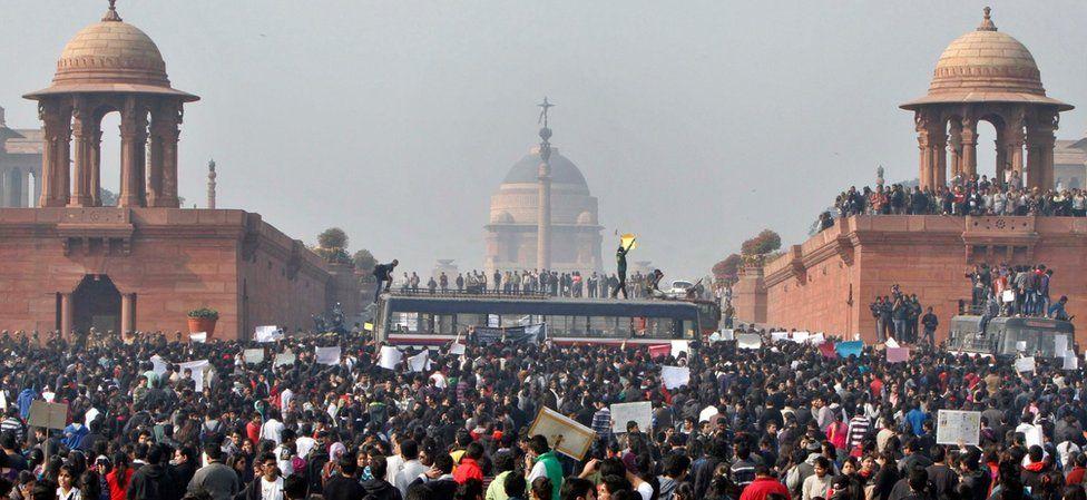 Protesters outside Delhi's parliament in December 2012