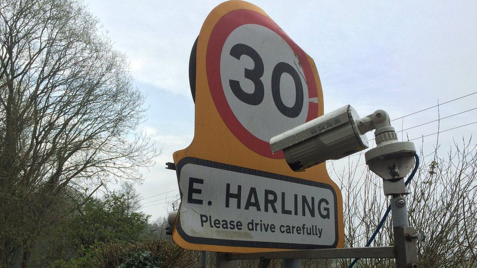 The East Harling village road sign