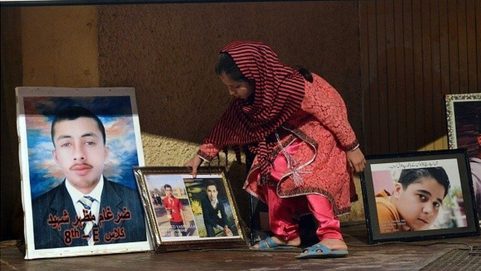 In this photograph taken on November 16, 2015, a Pakistani relative of a slain student, killed during an attack by Taliban militants at an army public school on December 16, 2014,