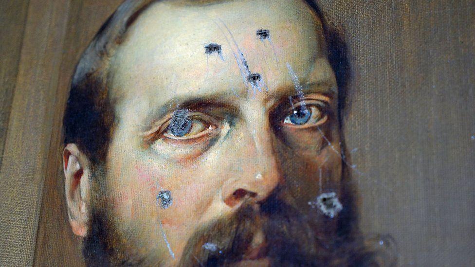 Portrait of Tsar Alexander defaced by bayonet marks