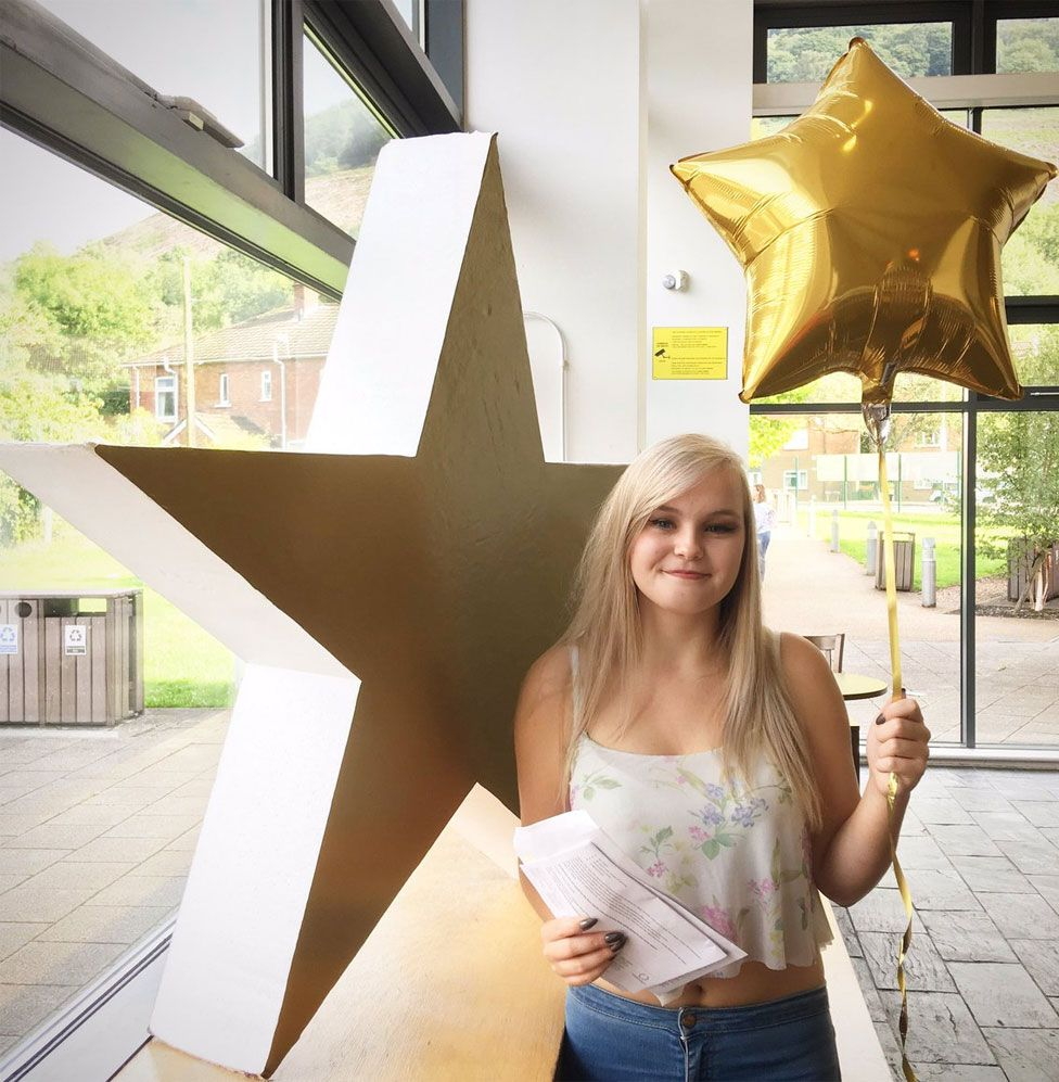 Katie Higgs celebrates her birthday - and three A* grades at Coleg Gwent