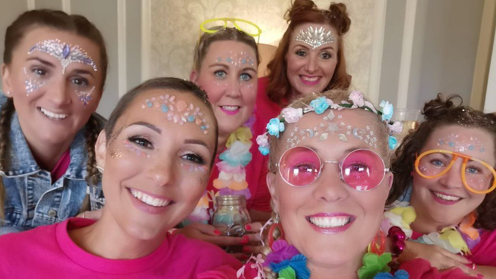 Gemma Williams with her 'pink army'
