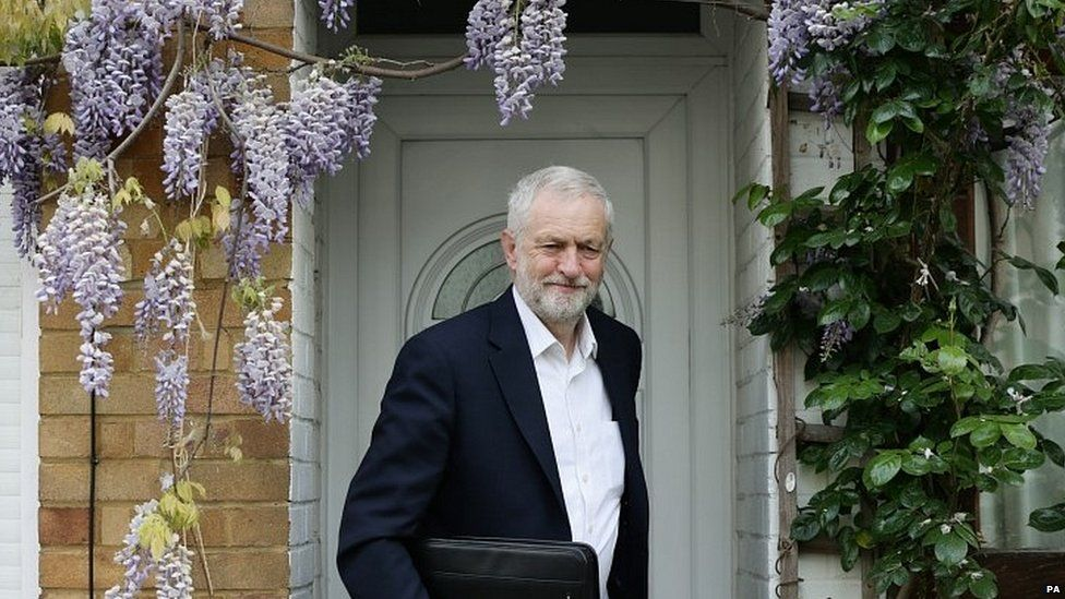 Jeremy Corbyn leaving his home on Wednesday