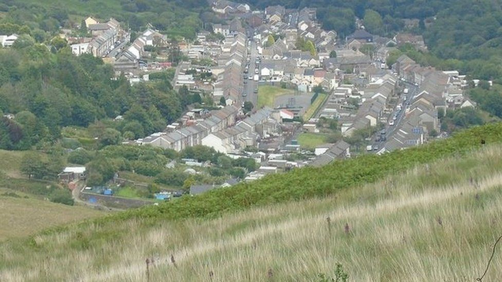 Treorchy from the Bwlch mountain, Rhondda