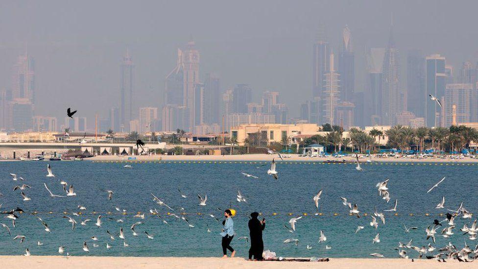 General shot of beach and skyline in Dubai, February 2021