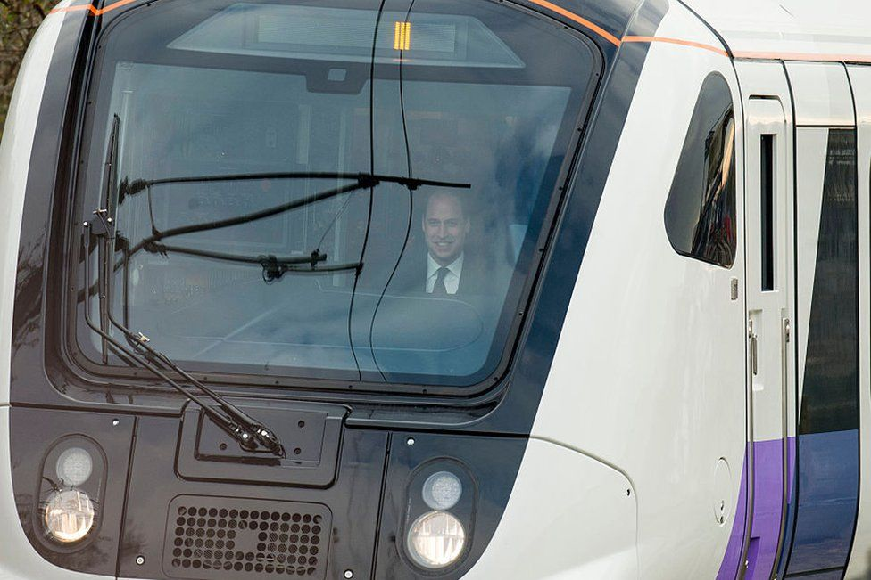 Prince William drives a Crossrail train during a visit to Bombardier on November 30, 2016 in Derby, England