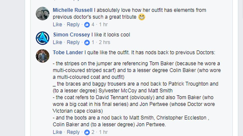 I quite like the outfit. It has nods back to previous Doctors: - the stripes on the jumper are referencing Tom Baker (because he wore a multi-coloured striped scarf) and to a lesser degree Colin Baker (who wore a multi-coloured coat and outfit)