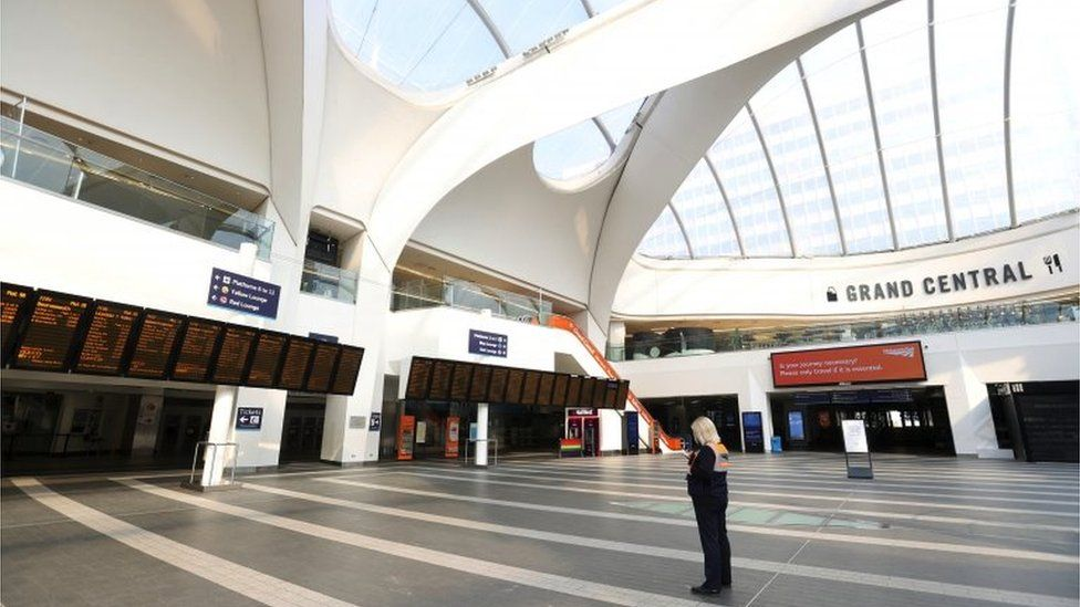 A general view at an empty Birmingham New Street train station