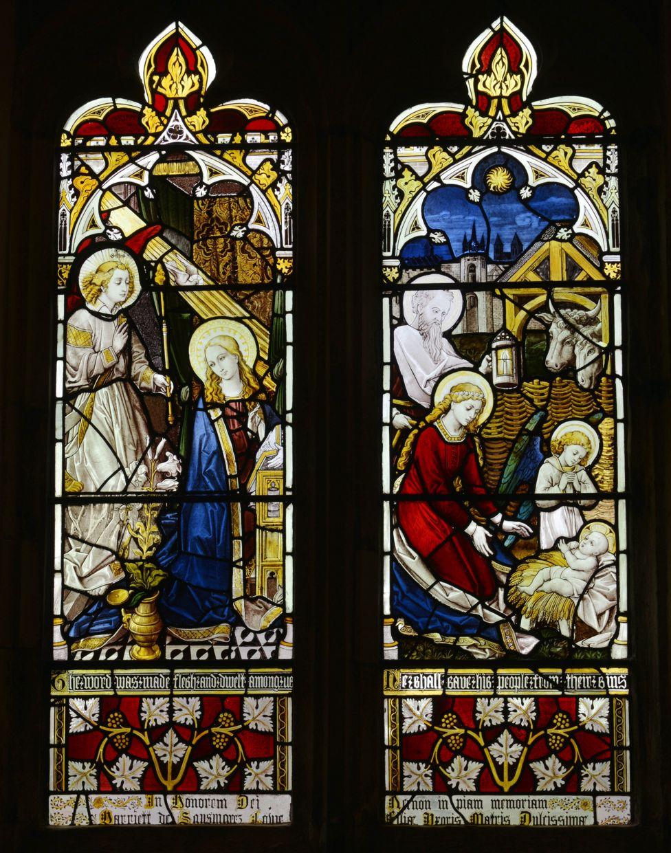 英国东萨塞克斯圣母教堂中的一幅玻璃窗画(the church of St Mary the Virgin, Willingdon, East Sussex)