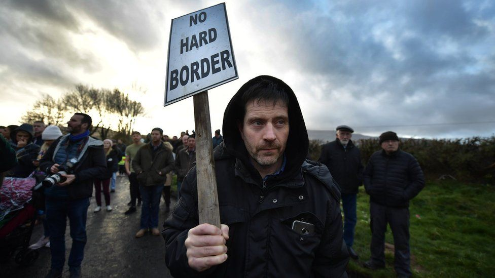 A protester at the Irish border