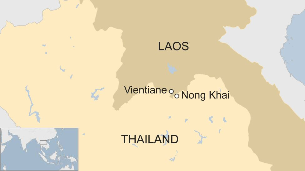 Map of Nong Khai and Vientiane