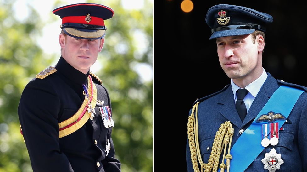 Prince Harry and Prince William wearing military outfits