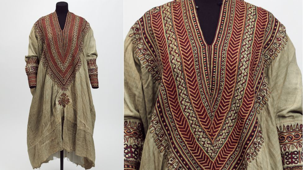 V&A Museum, Maqdala 1868 display: Cotton dress embroidered with silk, said to have belonged to Queen Woyzaro Terunesh, made in the 1860s