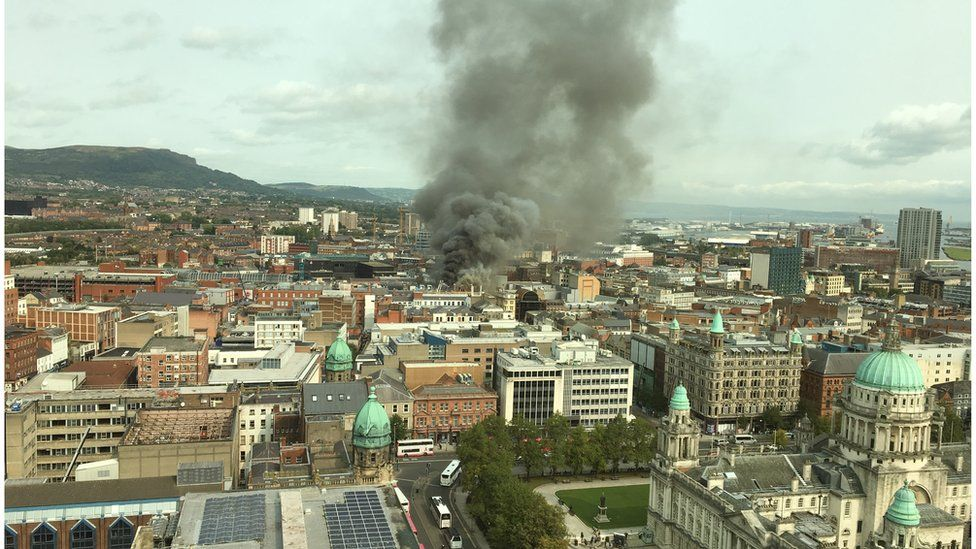 Smoke from the fire seen over Belfast city centre