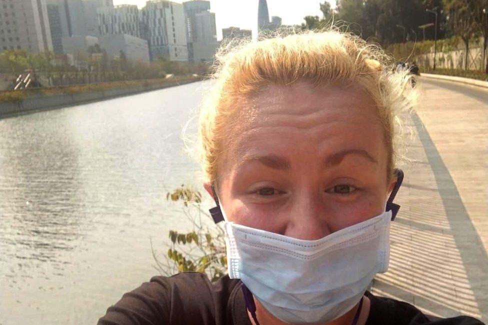 Jen Smith in a mask