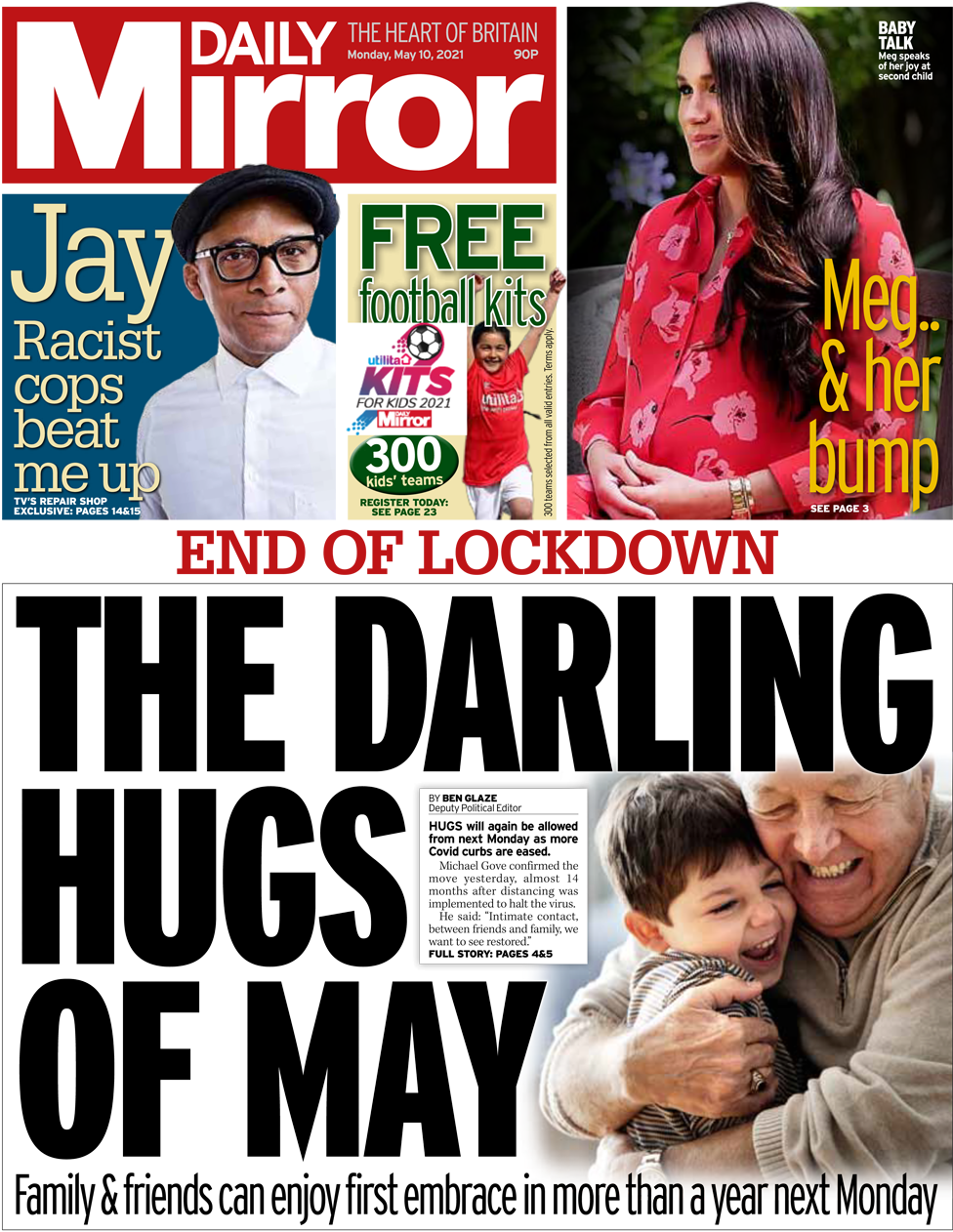 The Daily Mirror front page 10 May 2021