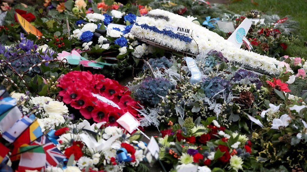 Wreaths at the Lockerbie memorial