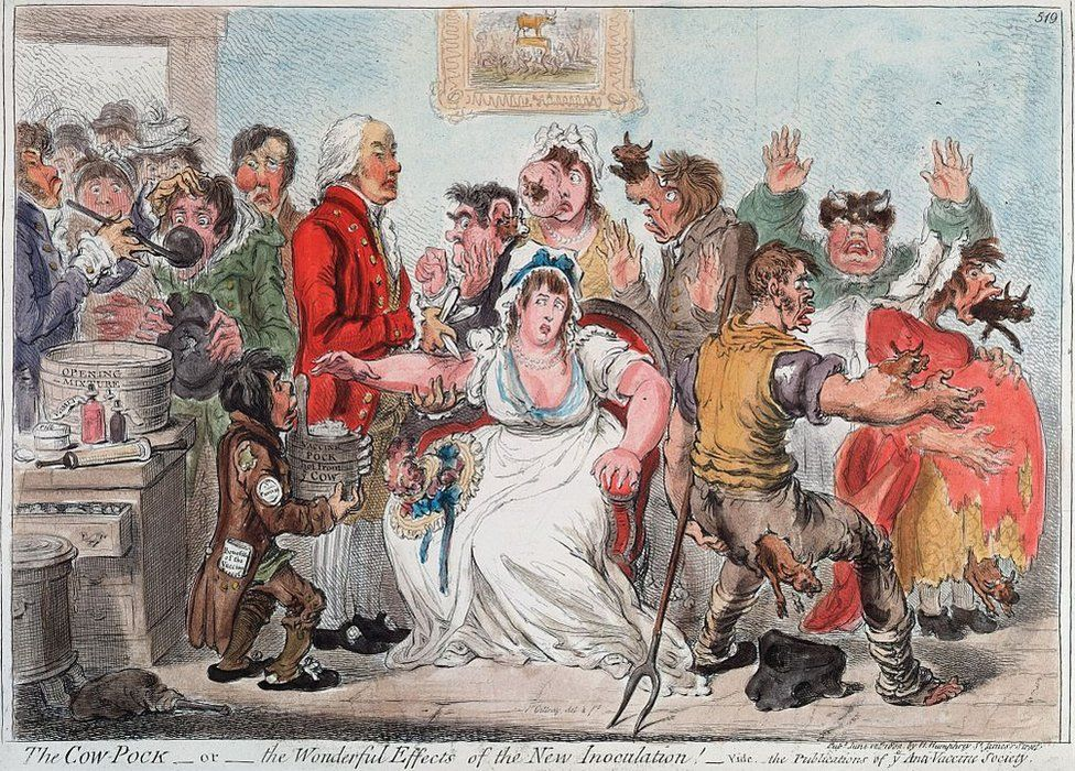 An anti-vaccination cartoon from the early 19th Century.