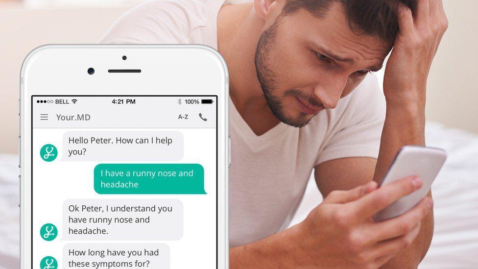 Worried looking man and phone screengrab of medical conversation