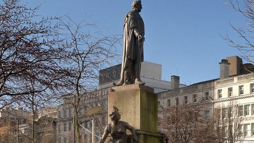 Sir Robert Peel statue in Piccadilly Gardens in Manchester
