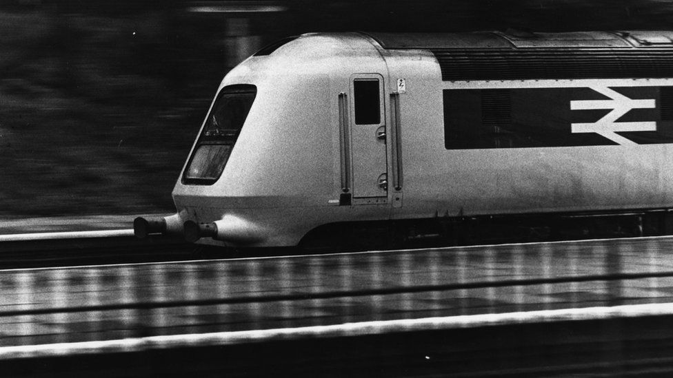 12th May 1975: The British Rail prototype high speed train, a diesel multiple unit, on trial at Derby Engine depot.