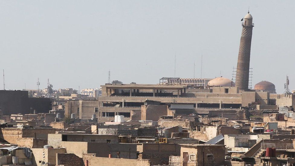 A general view of Mosul taken on 25 March 2017, showing the leaning minaret of the Great Mosque of al-Nuri in Mosul