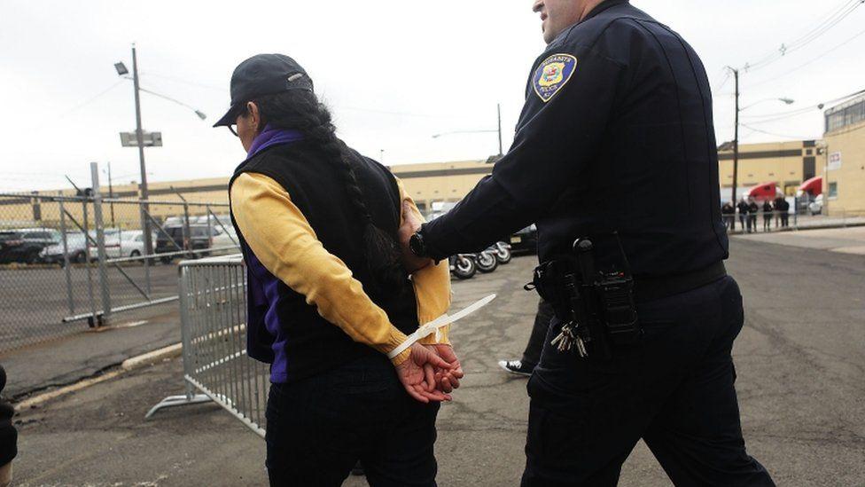 Police arrest demonstrator in Elizabeth NJ. 23 Feb 2017