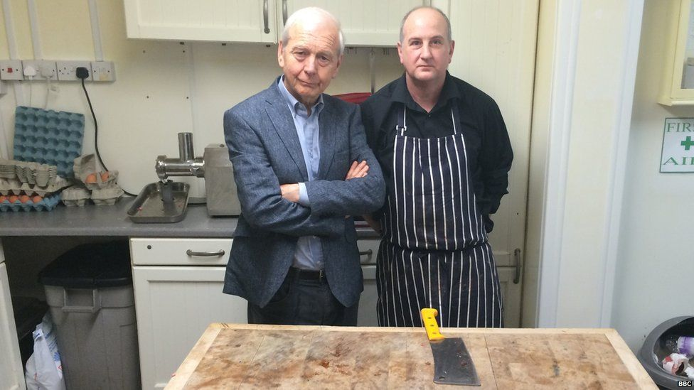 John Humphrys with David Straw, a butcher in Shirebrook