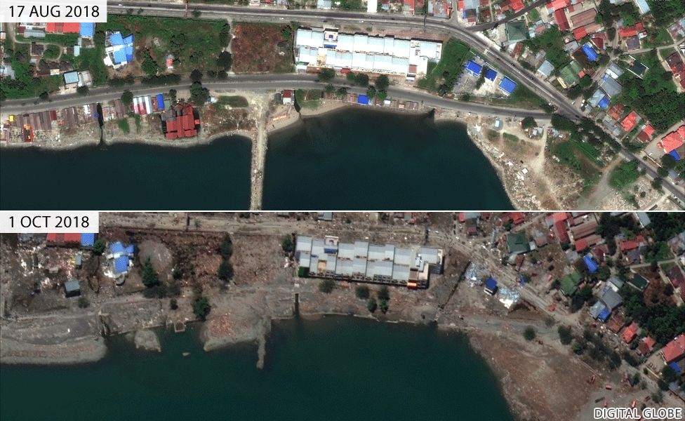 Before and after images of jetty in Palu