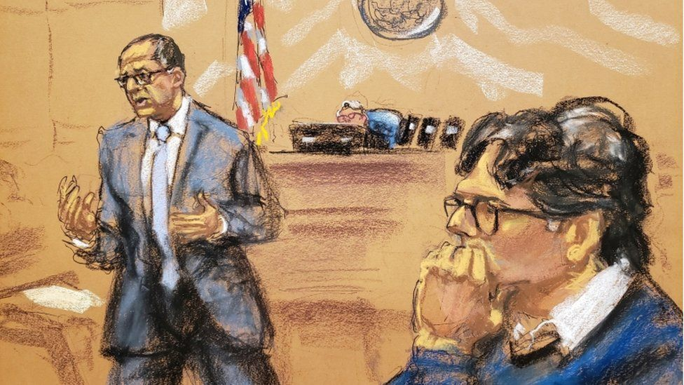 Keith Raniere (right) in court during closing arguments