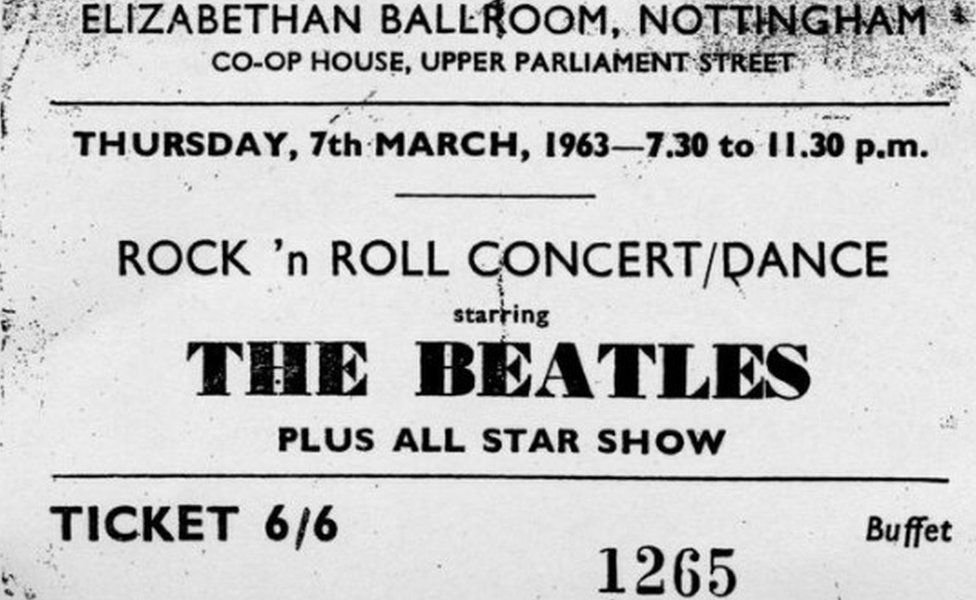 Ticket stub for The Beatles