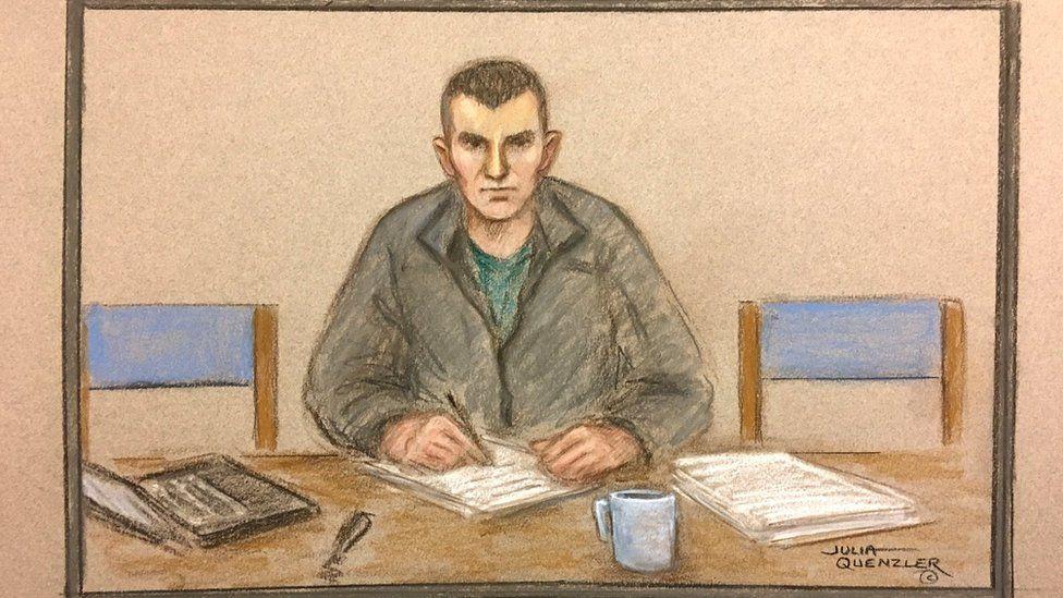 Court sketch of Ciaran Maxwell