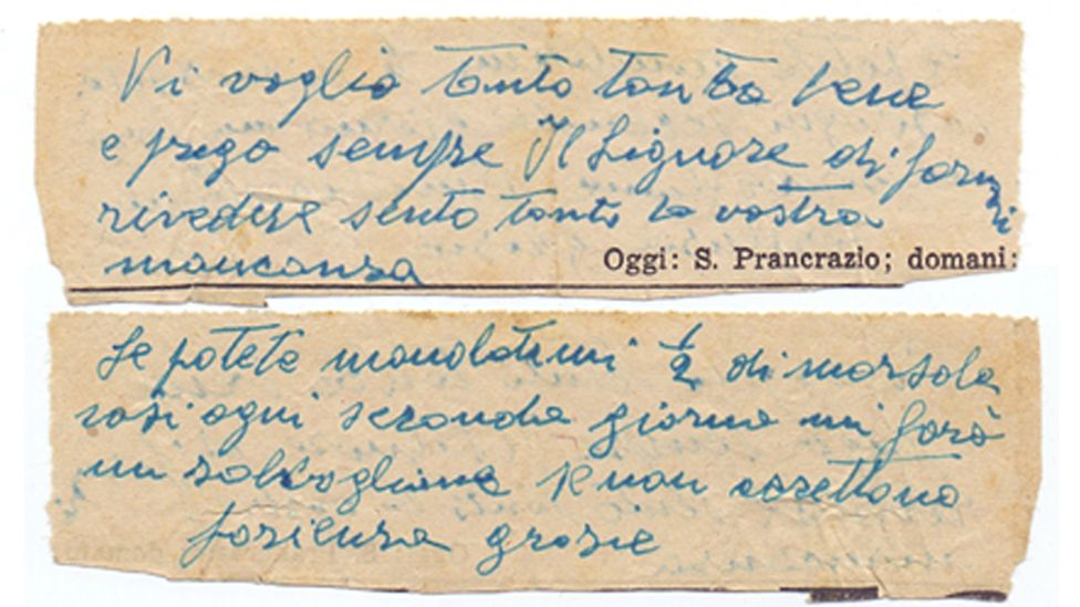 One of Daniele's letters, requesting a small bottle of Marsala