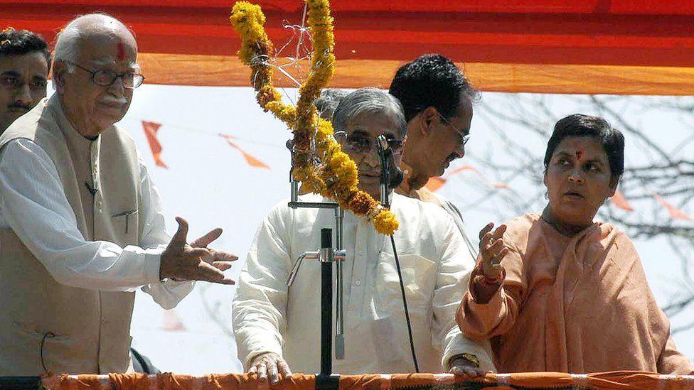 LK Advani (left) and Uma Bharti