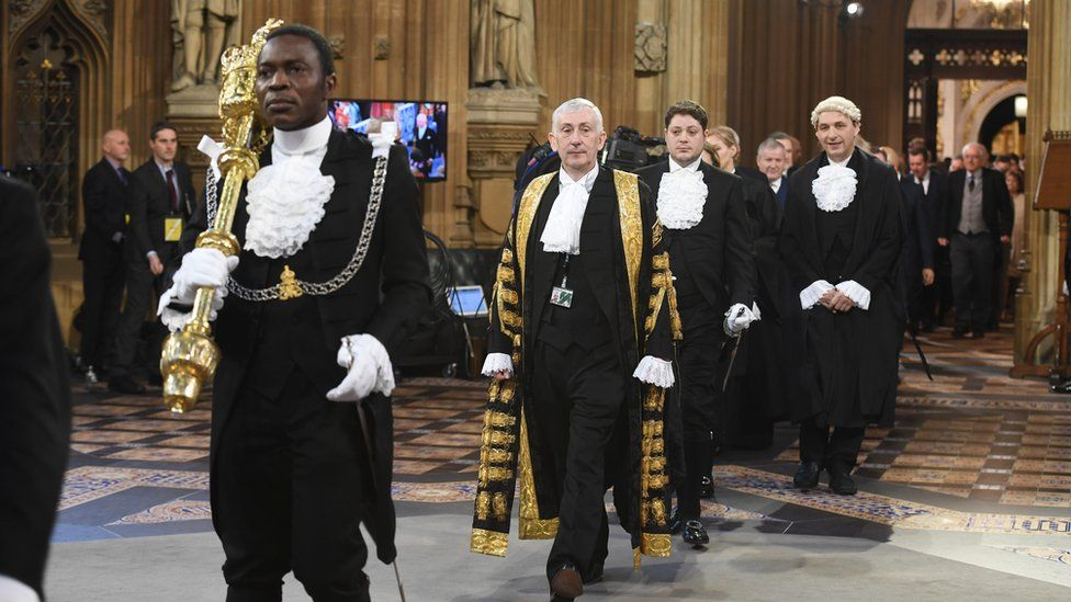 Speaker Lindsay Hoyle at the state opening of Parliament