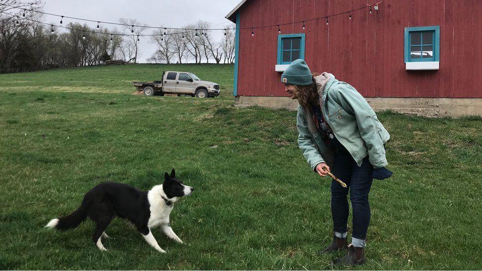 Maren Beard, shown with her dog Noche