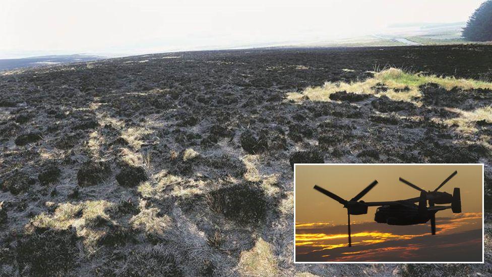 Scorched grassland/Osprey helicopter