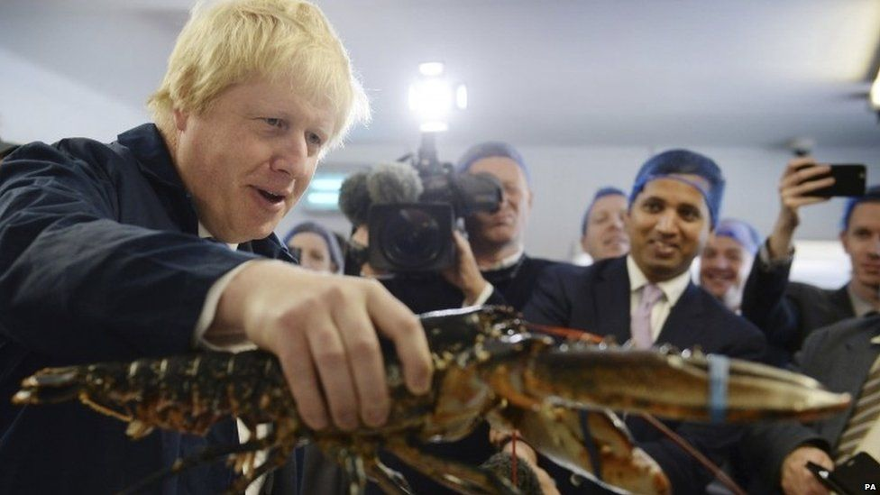 Boris Johnson holding a lobster on a visit to Suffolk