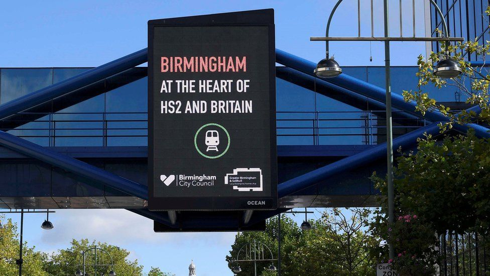A electronic billboard promoting the HS2 transport link development and the city of Birmingham is seen during the annual Conservative Party Conference in Birmingham, Britain, October 2, 2016.