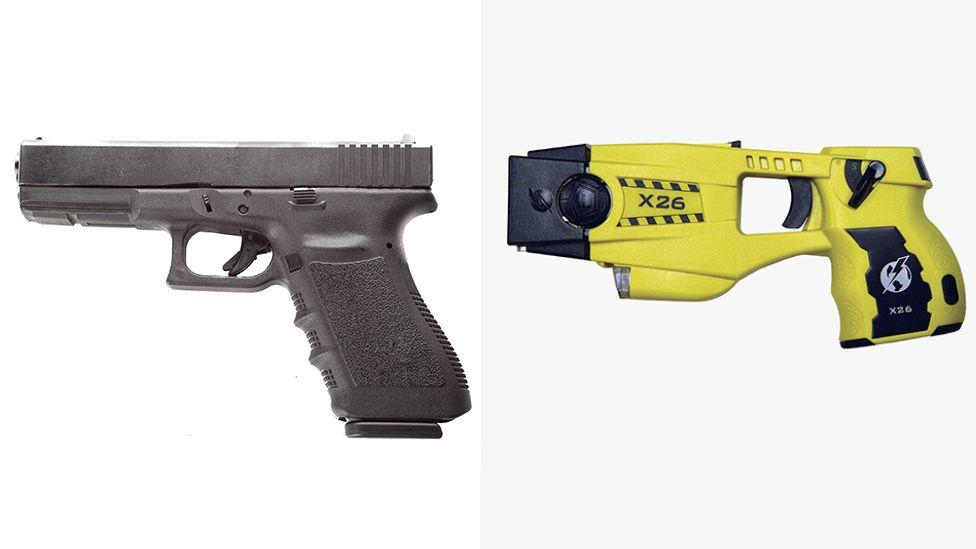 Glock handgun and X26 Taser